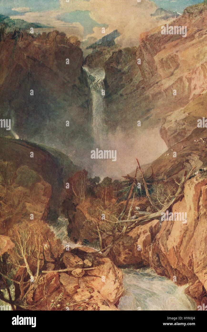 Die Reichenbach fällt J M W Turner 1804.  Der große Fall der Reichenbach; im Tal von Hasle, Schweiz Stockbild