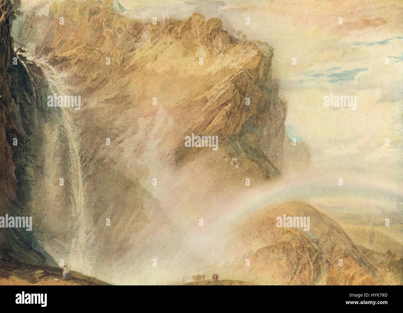 Die oberen Wasserfälle der Reichenbach; Rainbow von J M W Turner ca. 1818. Stockbild