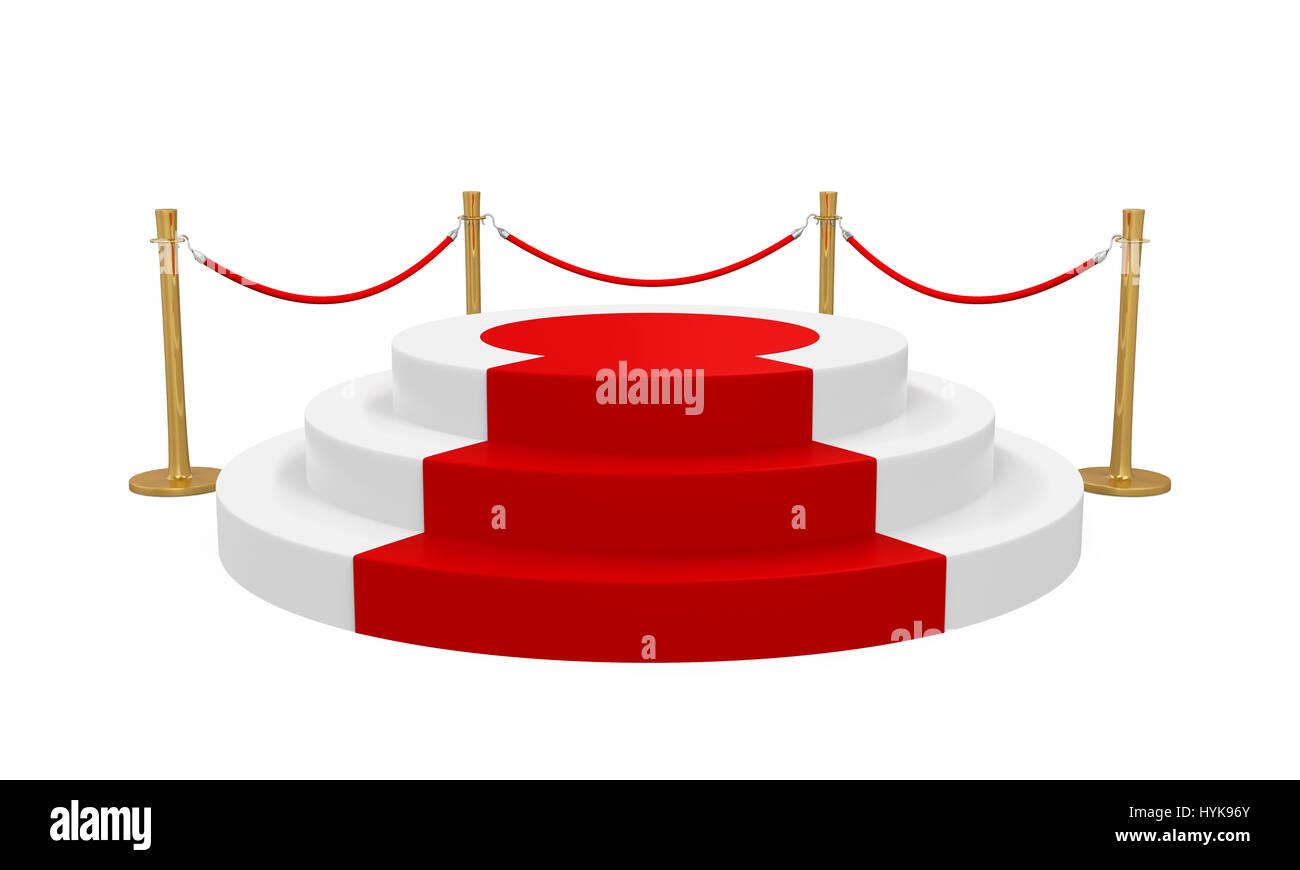 Podium mit rotem Teppich Stockbild