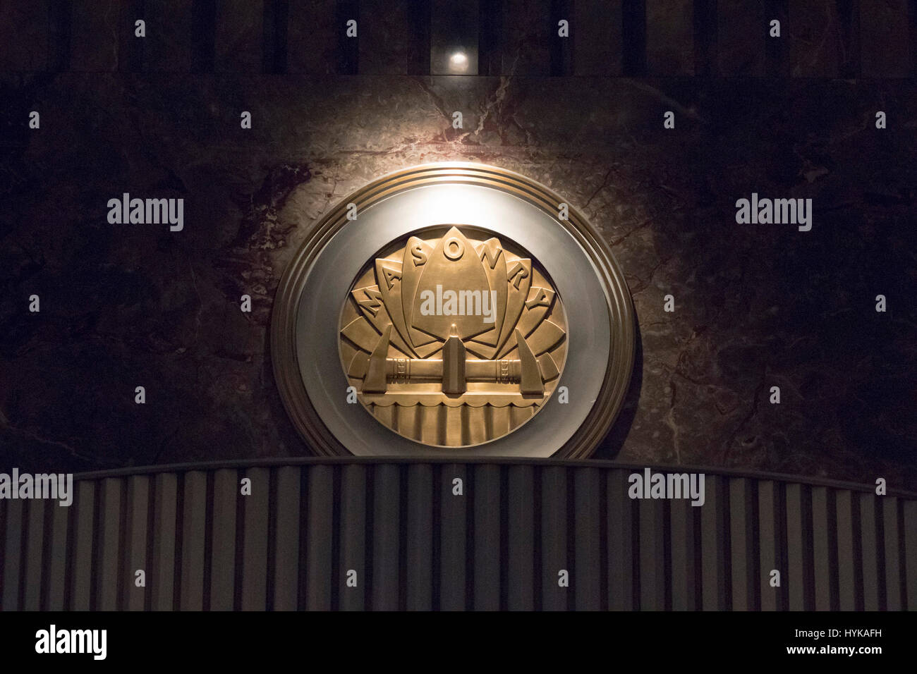 Mauerwerk-Emblem, lobby, Empire State Building, Manhattan, New York City, USA Stockbild