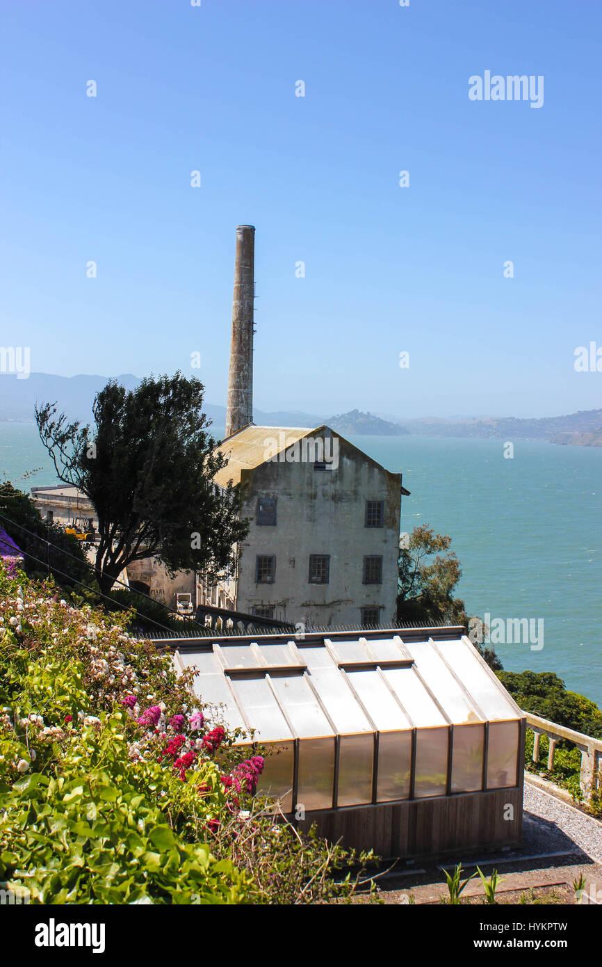 Gefängnis von Alcatraz. Das Gefängnis wurde Heimat einiger der berüchtigtsten Verbrecher des Tages; Stockbild