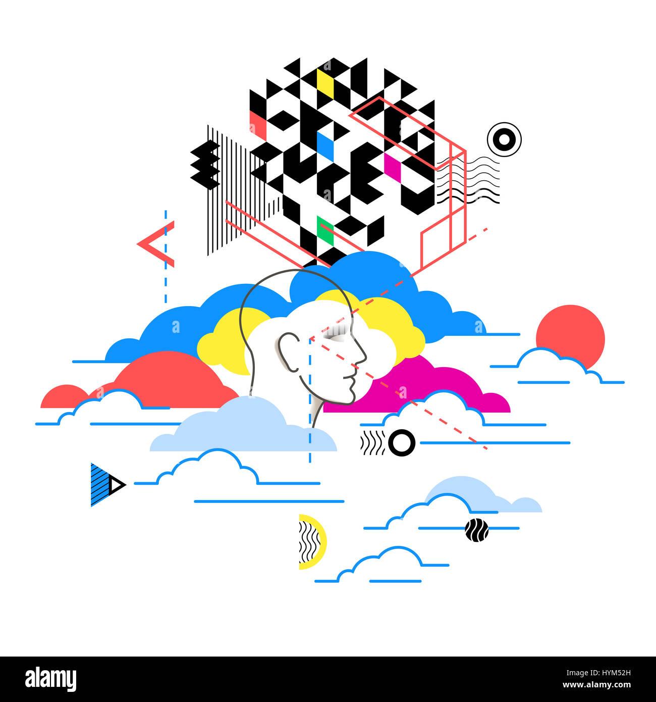 Cloud-computing-Dienste, Technologie-Metapher. Web-Design, Illustration Marketingkonzept.  Zusammenfassung Hintergrund Stockfoto