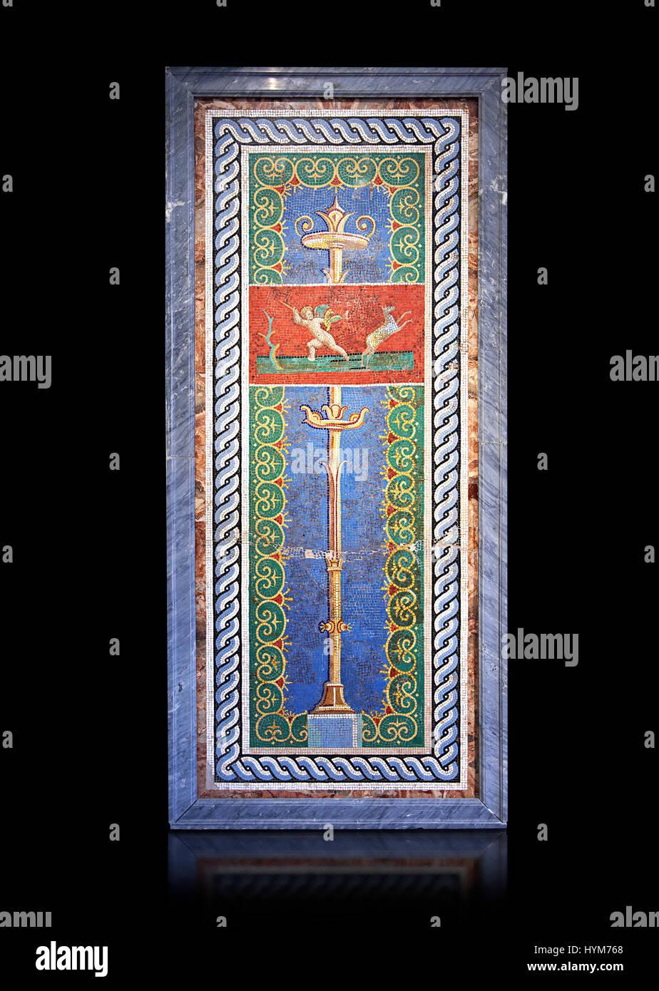 römische stoffbahn mit kandelaber und ein amor jäger in glas kleben