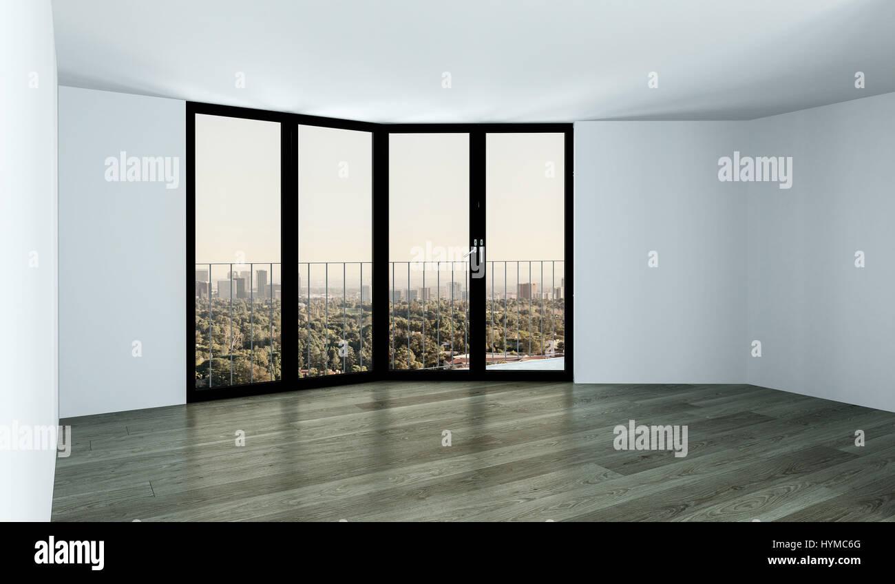 Leere Zimmer Mit Weißen Wänden Und Decke Und Grauen Parkettboden, Mit Hohen  Fenstern Und Blick Auf Den Park Von Oben