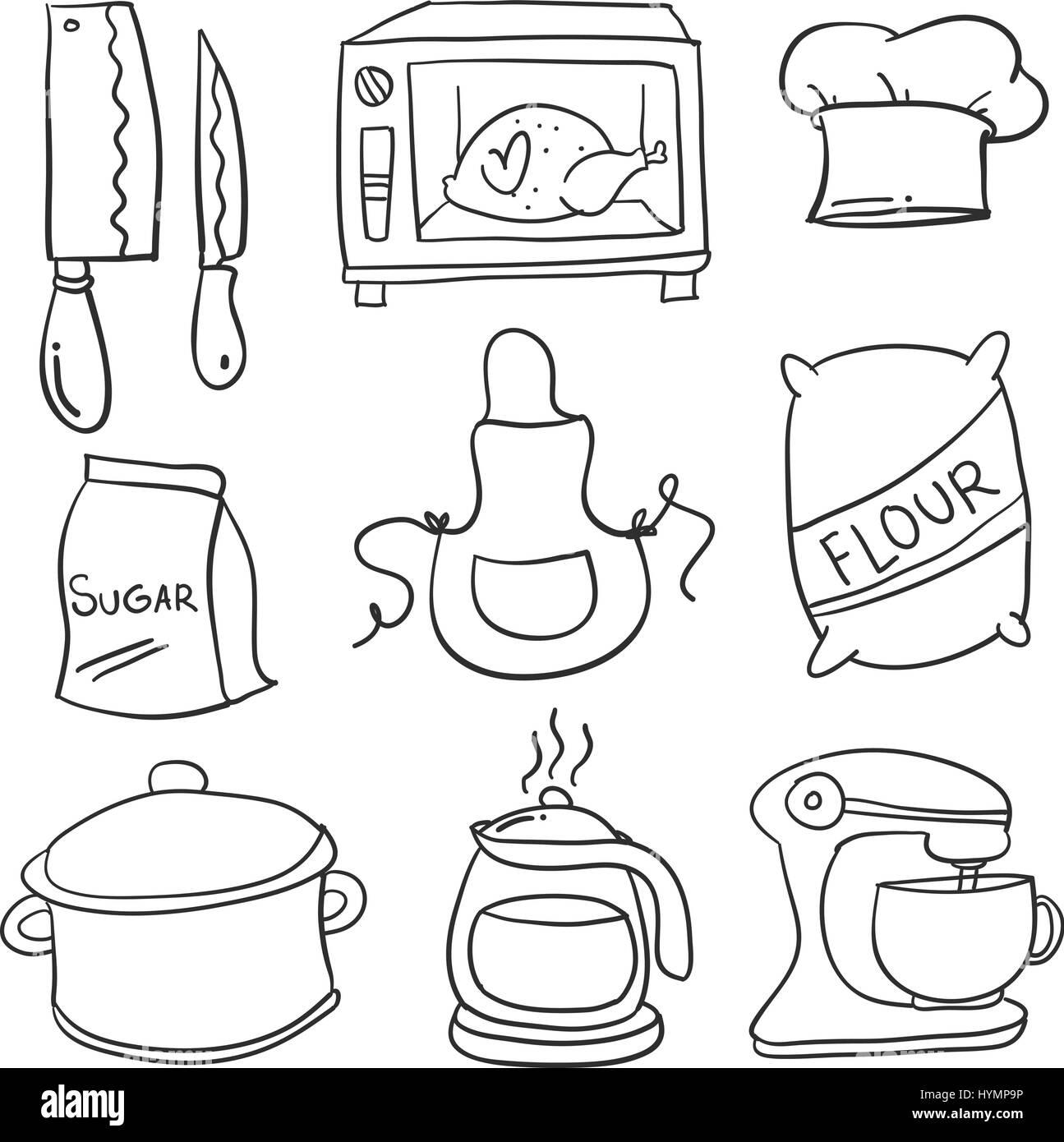 Doodle Kuche Set Hand Zeichnen Vektor Abbildung Bild 137524850