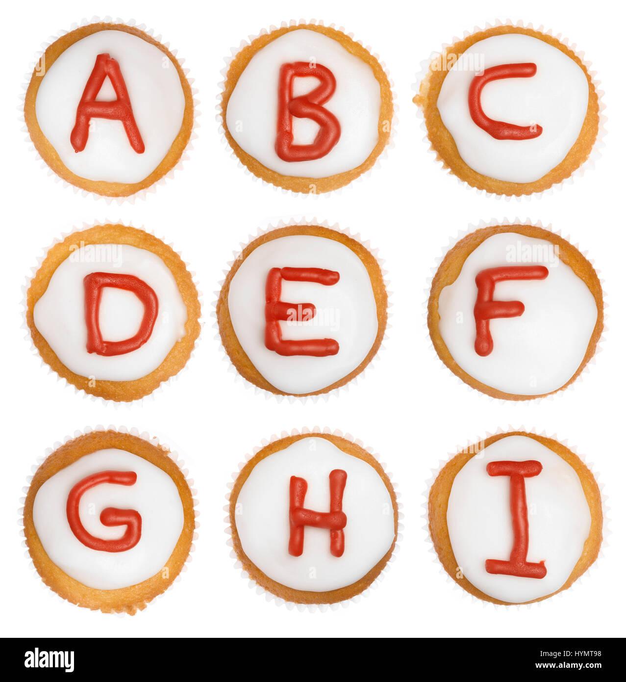 Isolierte Cupcake-Alphabet von A bis I Stockfoto