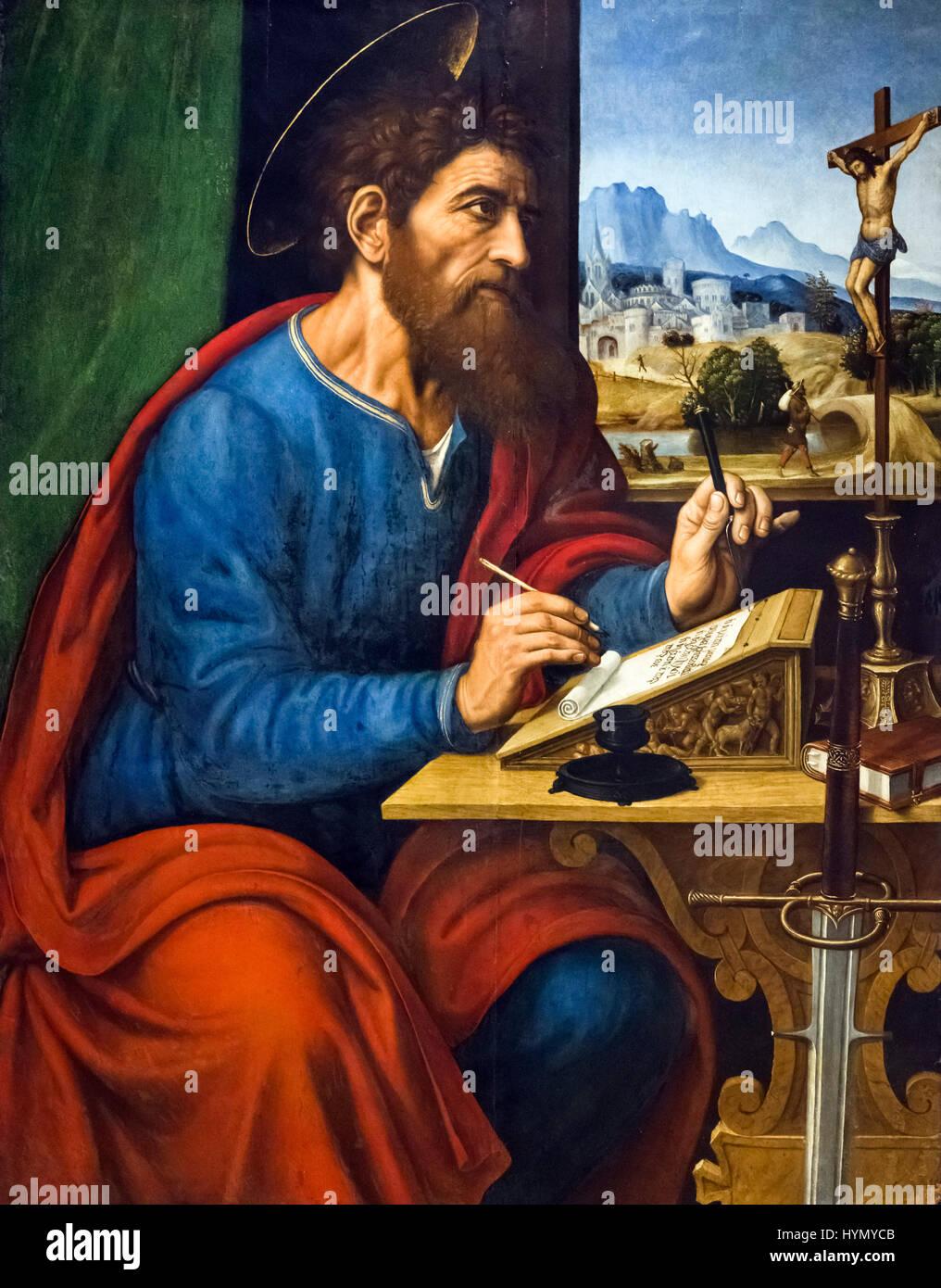 Saint Paul schreiben von Pier Francesco Sacchi (1485-1528), Öl auf Pappelholz, 1520 s Stockbild