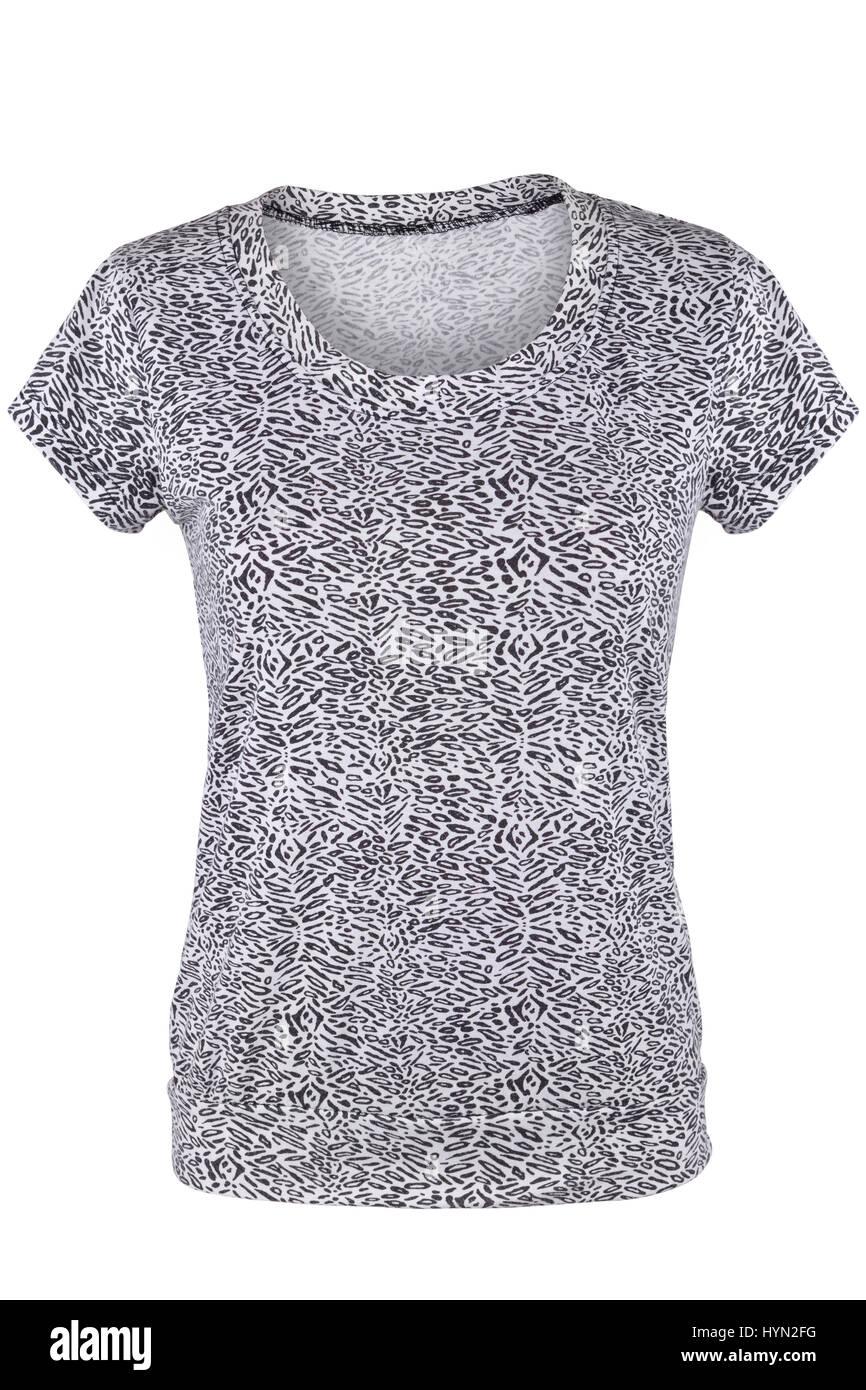 dce70a99c9bf84 Frauen T-shirt mit schwarzen und weißen Muster, isoliert auf weiss ...
