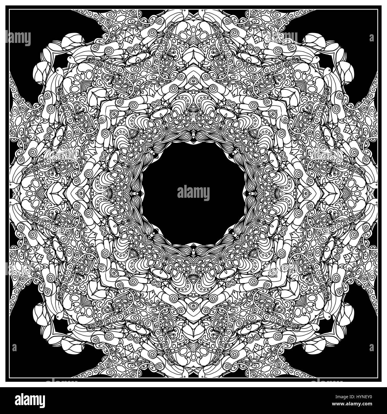 Vektorgrafik mono Farbe schwarz. Erwachsenen Coloring Seite Buchgestaltung, für Erwachsene. Stockbild
