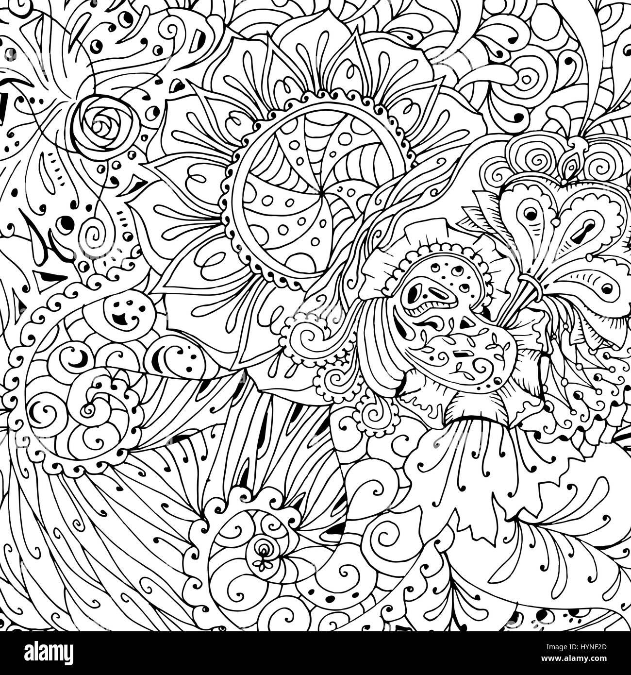 Coloring Seite Buchgestaltung mit Muster. Mandala ethnischen Ornament. Stockbild