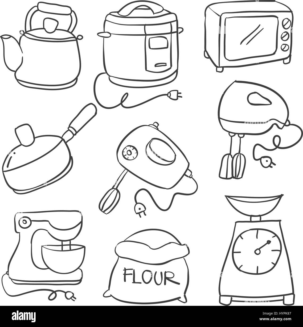 Vektor Illustration Der Kuche Legen Hand Zeichnen Vektor Abbildung