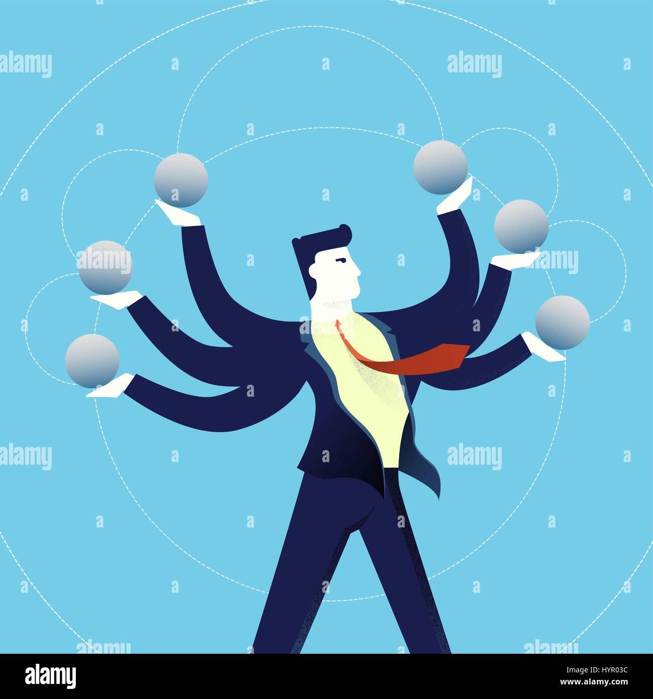 Geschäft Multitasking Konzept Abbildung, Acrobat Büro Mann ...