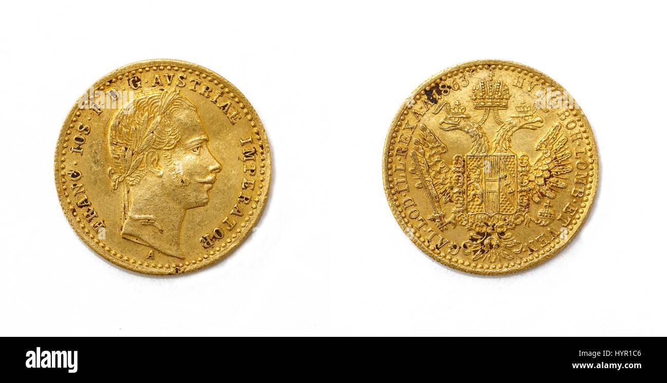 1 Dukaten Franz Joseph I Goldmünze Aus österreich Stockfoto