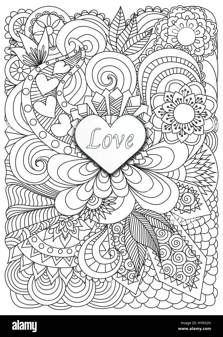 Herz-Form-Papier mit dem Wort Liebe auf floraler Hintergrund für ...