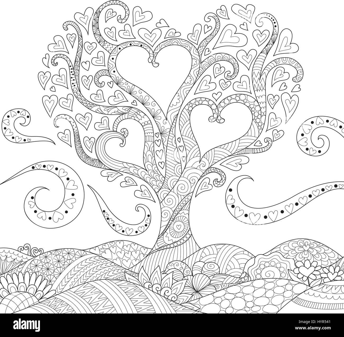 Hearted Formstruktur auf florale Boden für Karte, Einladung und Erwachsene Malvorlagen Buch für anti-Stress. Vektor Stock Vektor