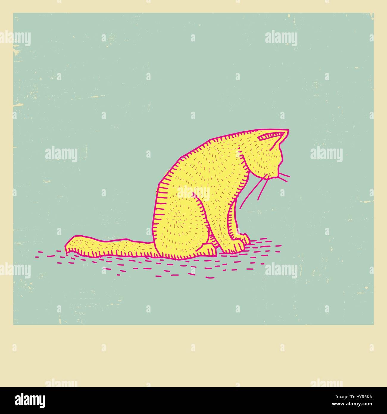 Vektor-Skizze, Zeichnung Katze auf Bilderrahmen Vektor Abbildung ...