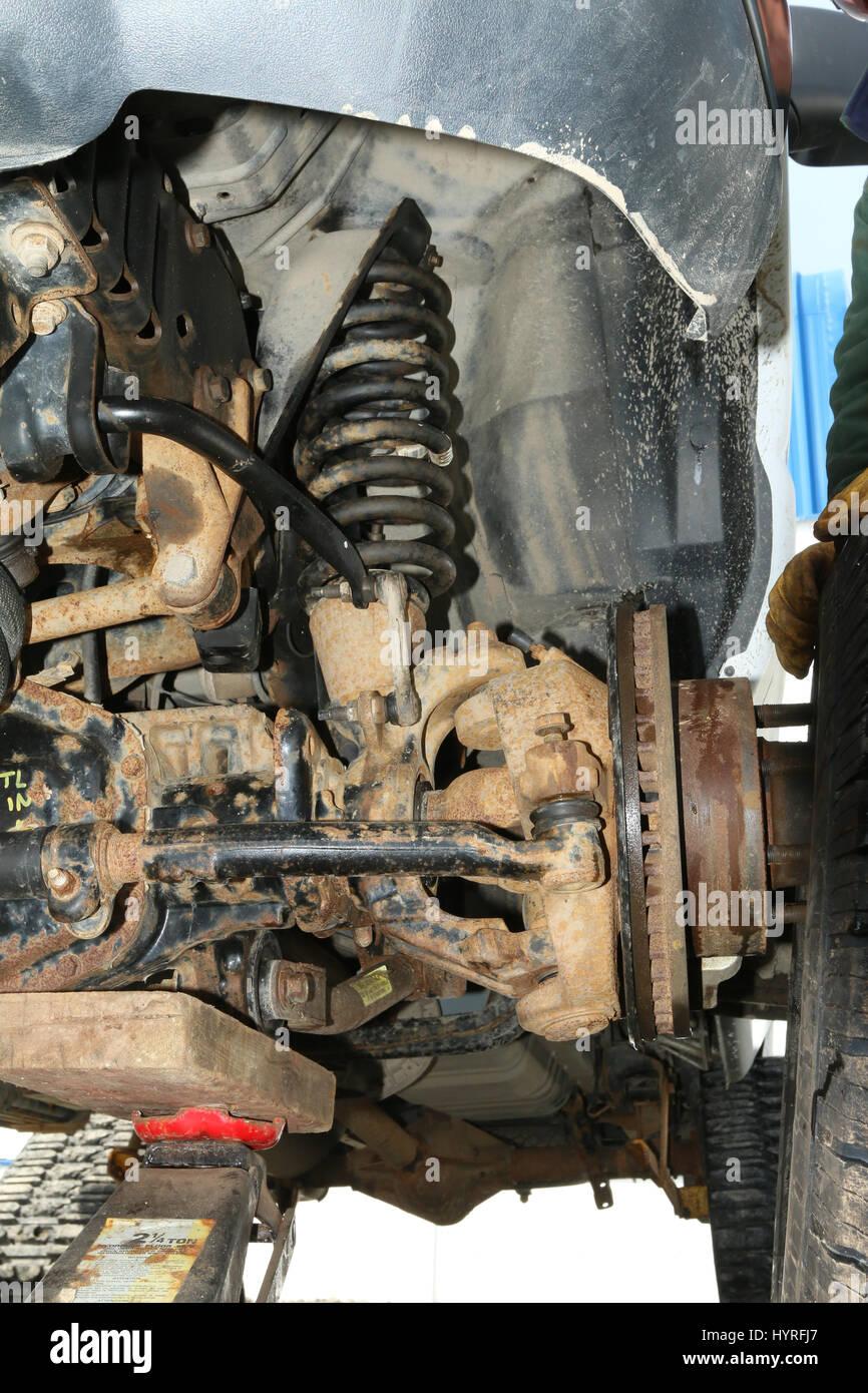 Achse, Aufhängung und Rad Nabeneinheit, Ford Transit Stockfoto