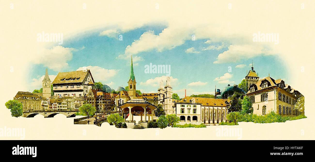 Hohe Auflösung Panoramablick auf das Wasser Farbe Stadt Zürich Abbildung Stockfoto