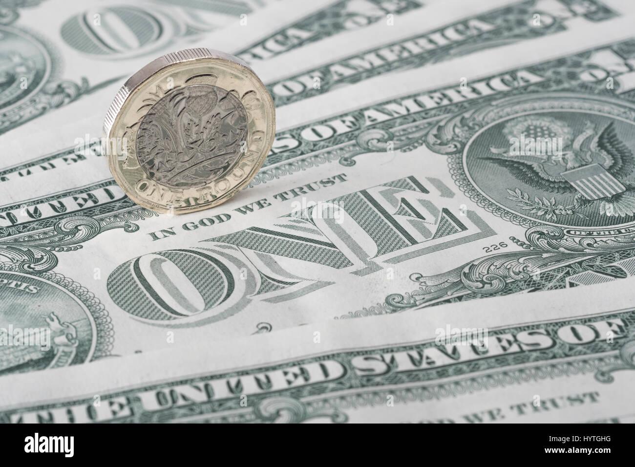 Neue 1ein Pfund Münze Uk Britische Pfund Münze Mit 1 Us Dollar