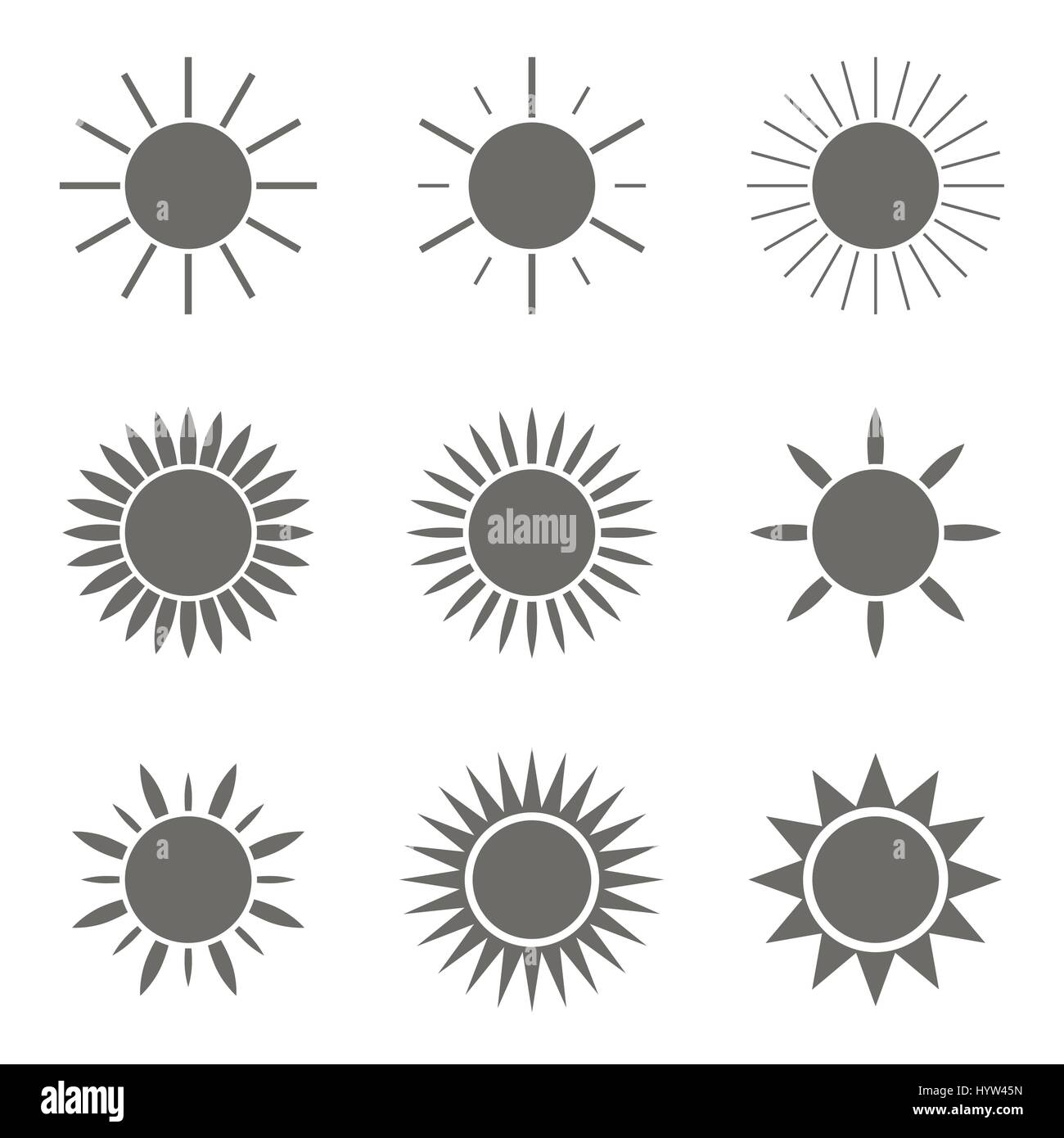 Sonne-Icon-set Stockbild