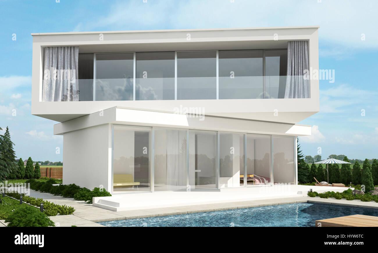 Zeitgenössische moderne weiße Hausdesign mit versetzten Etagen im ...
