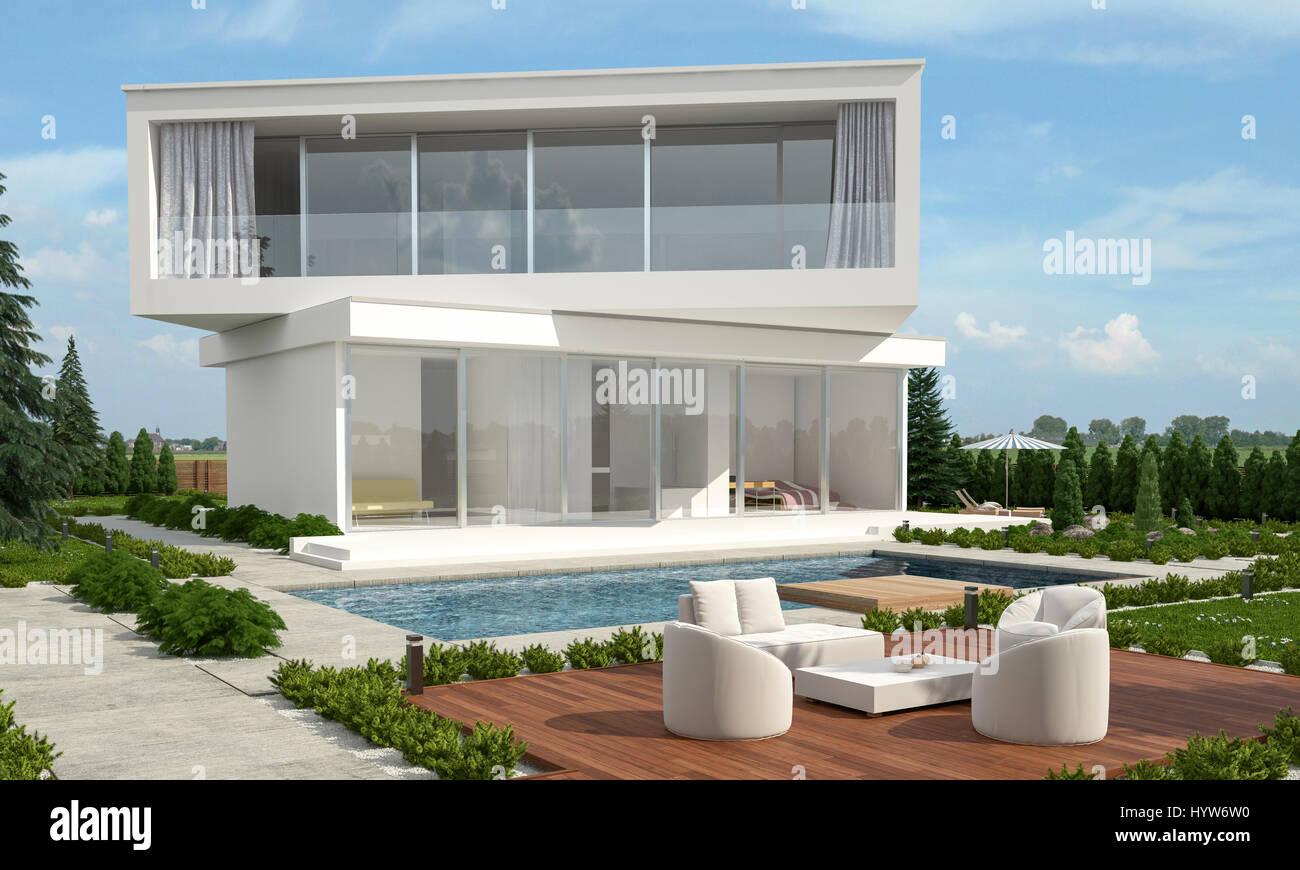 Moderne Designer-Haus mit versetzten Etagen mit Blick auf ...