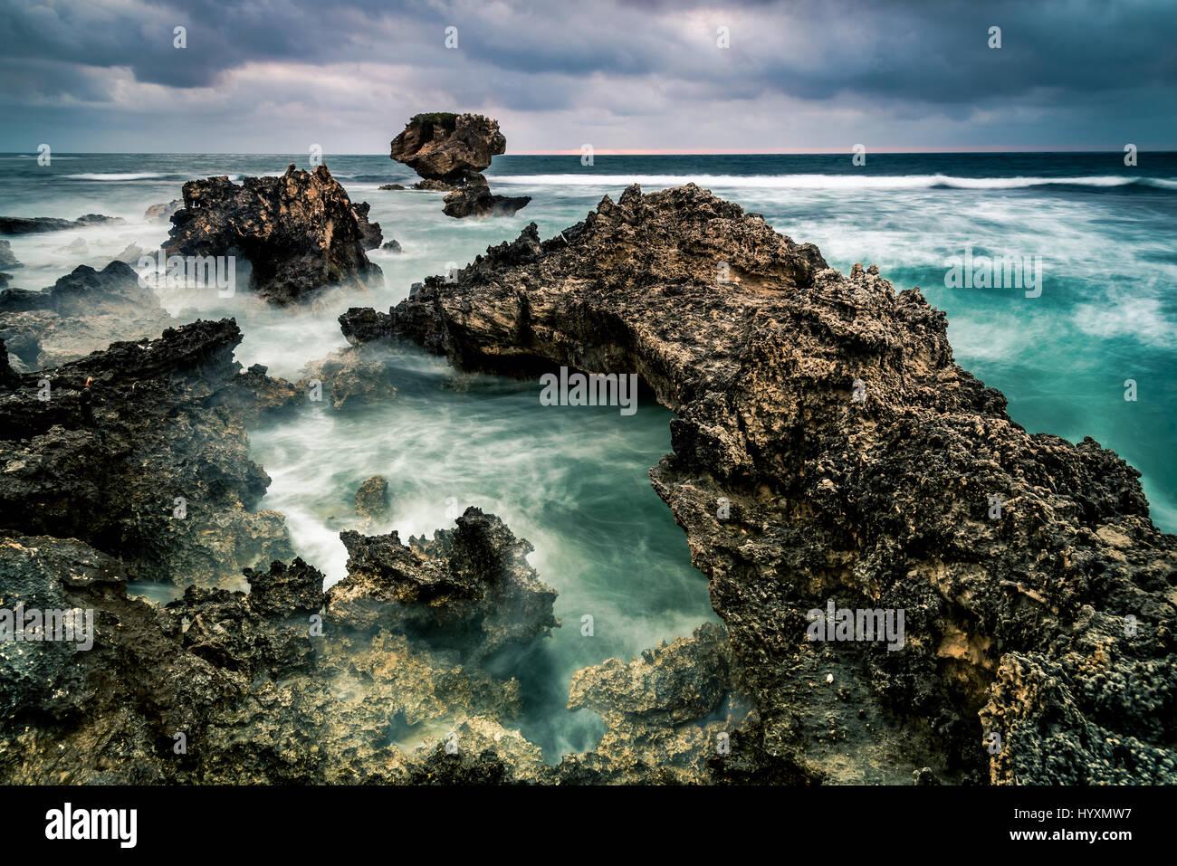Ich verbringe einen Tag zwischen Pinguin und Garden Island und diesen Standort zu finden. Durch die Sonnenuntergangszeit Stockbild