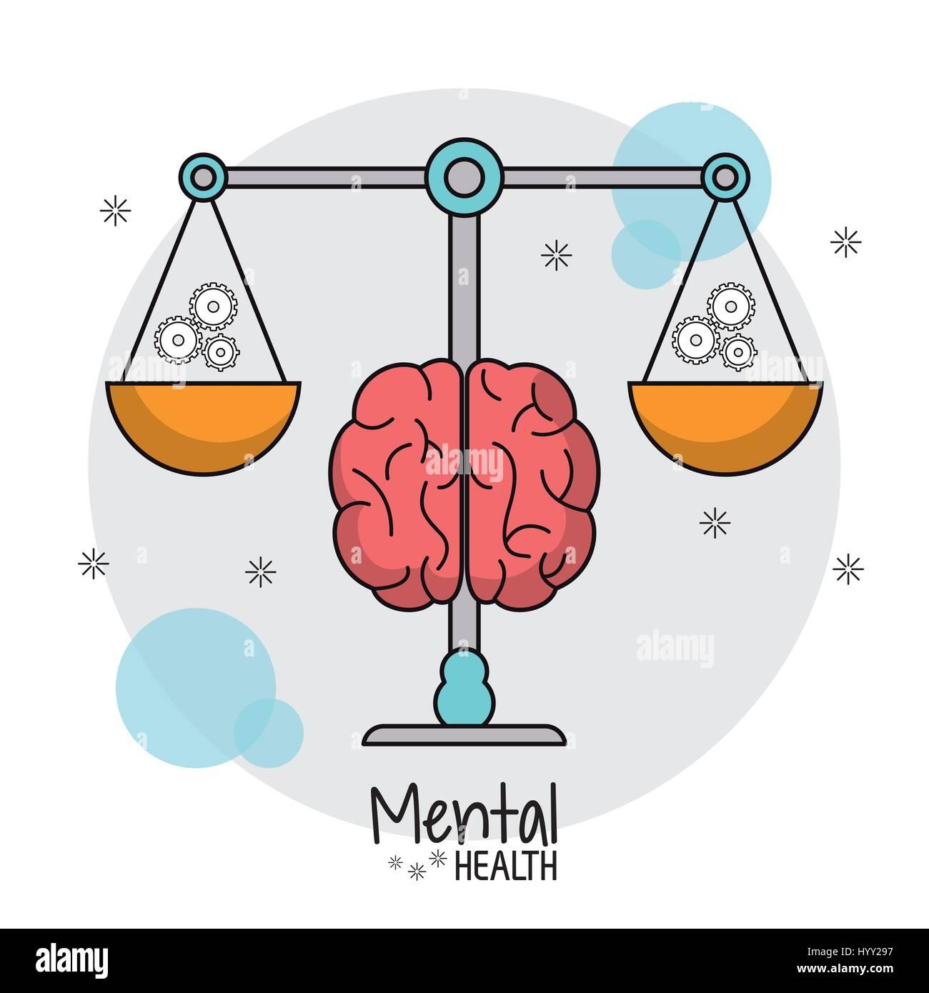 psychische Gesundheit Waage Gewicht Zahnräder Stockbild