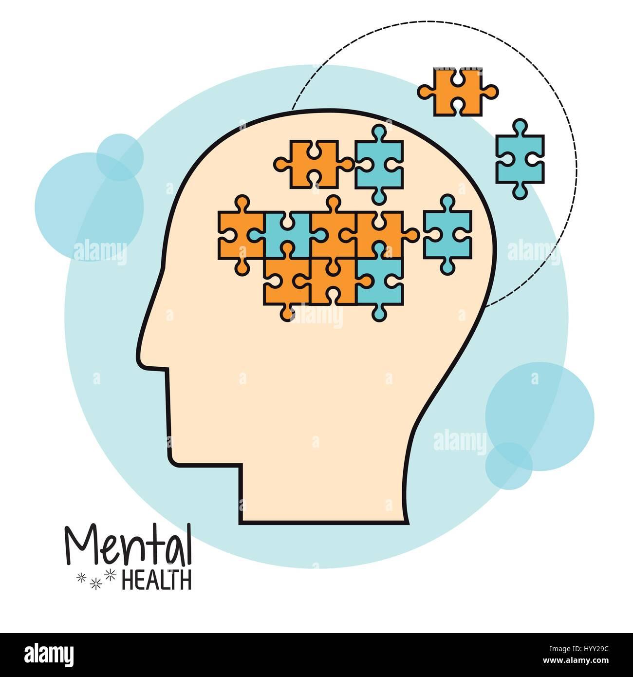psychische Gesundheit Gehirn Puzzlebild Stock Vektor