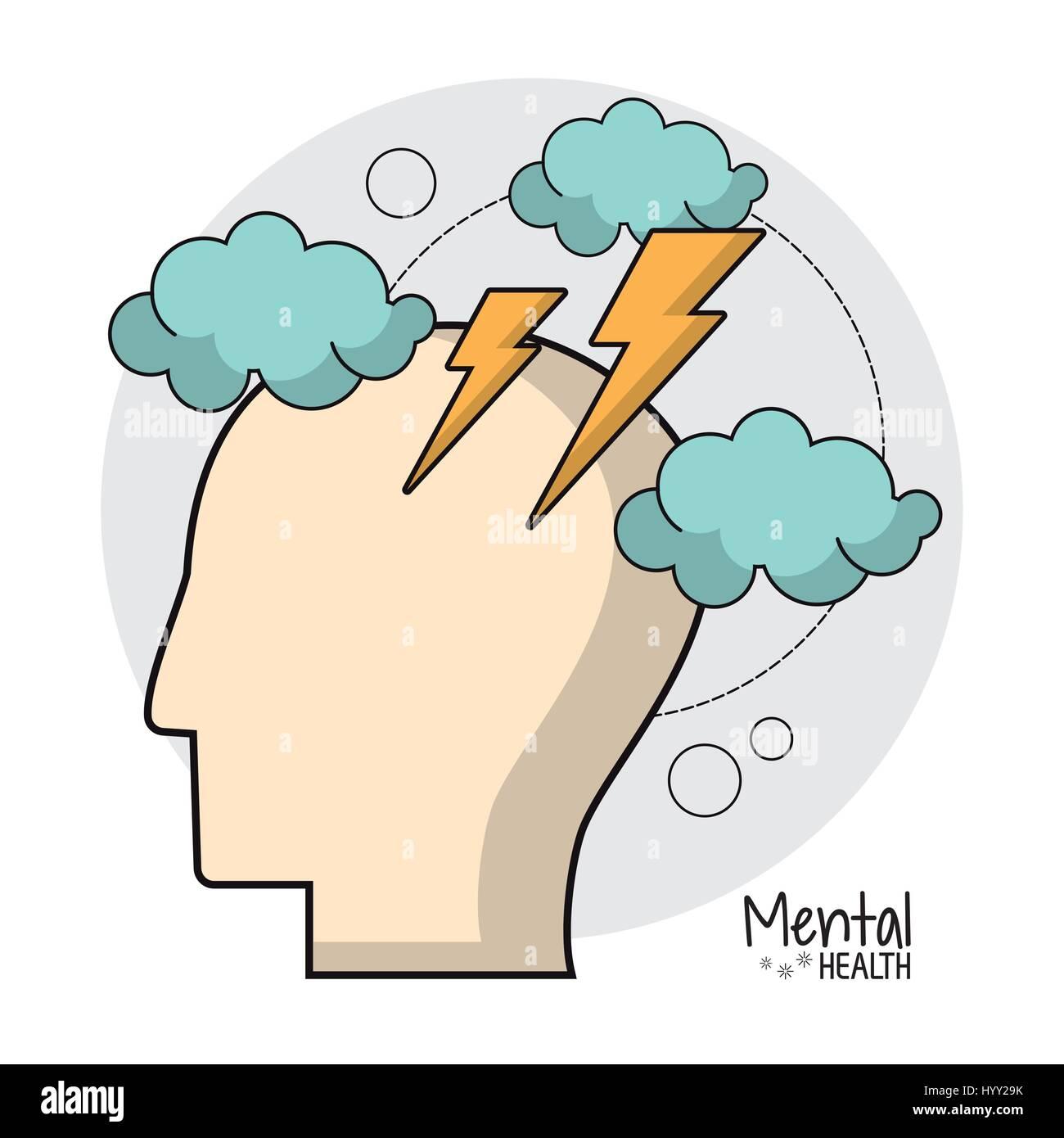 psychische Gesundheit Gehirn Sturm Ideen Stockbild