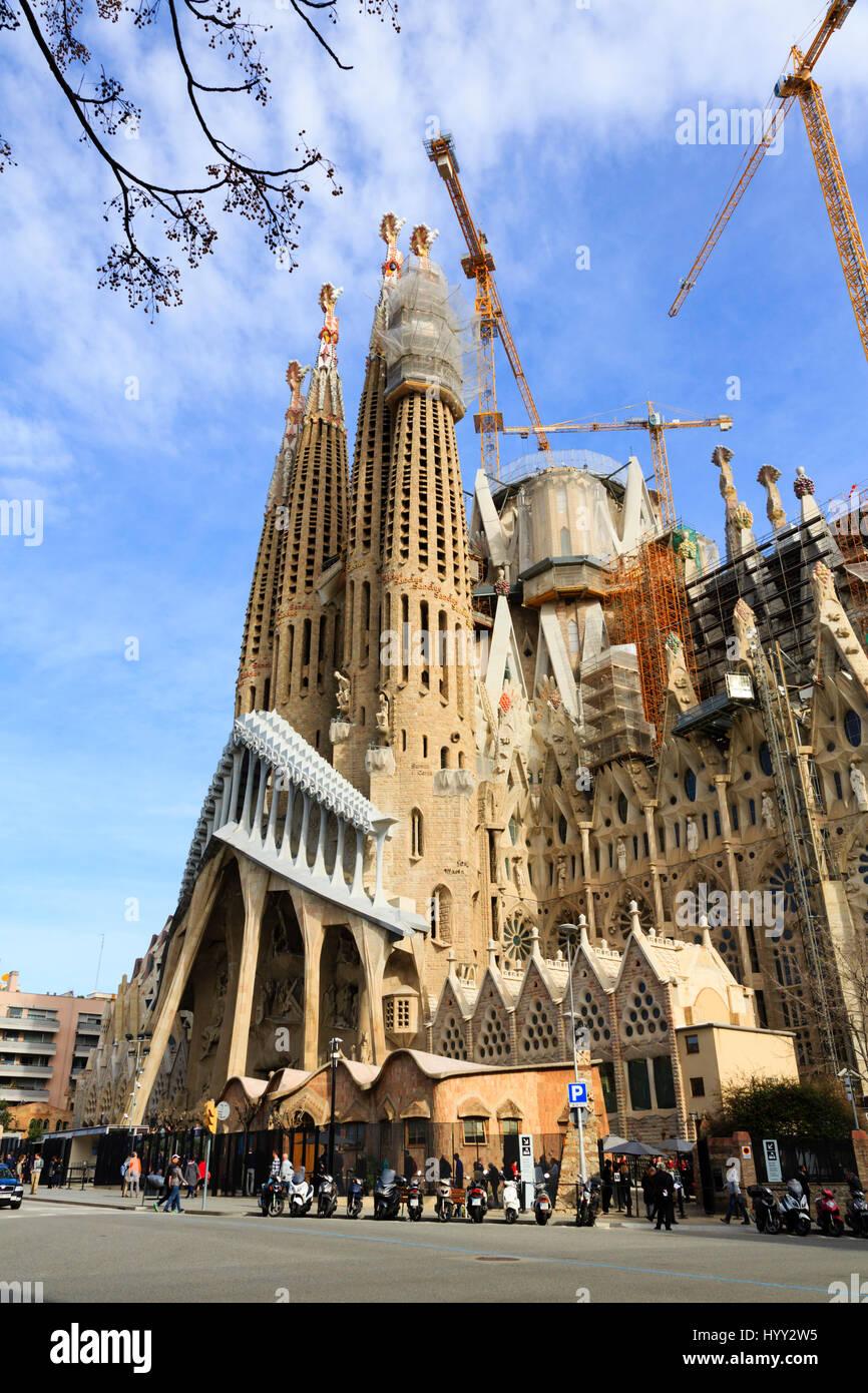 Außenansichten der Gaudi Basilika La Sagrada Familia, Barcelona, Katalonien, Spanien Stockbild