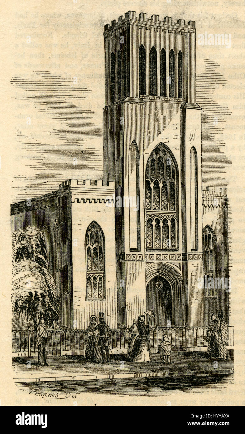 Antiken 1854 Gravur, The First Presbyterian Church, liegt am 124 Henry Street zwischen Pierrepont und Clark Street Stockbild