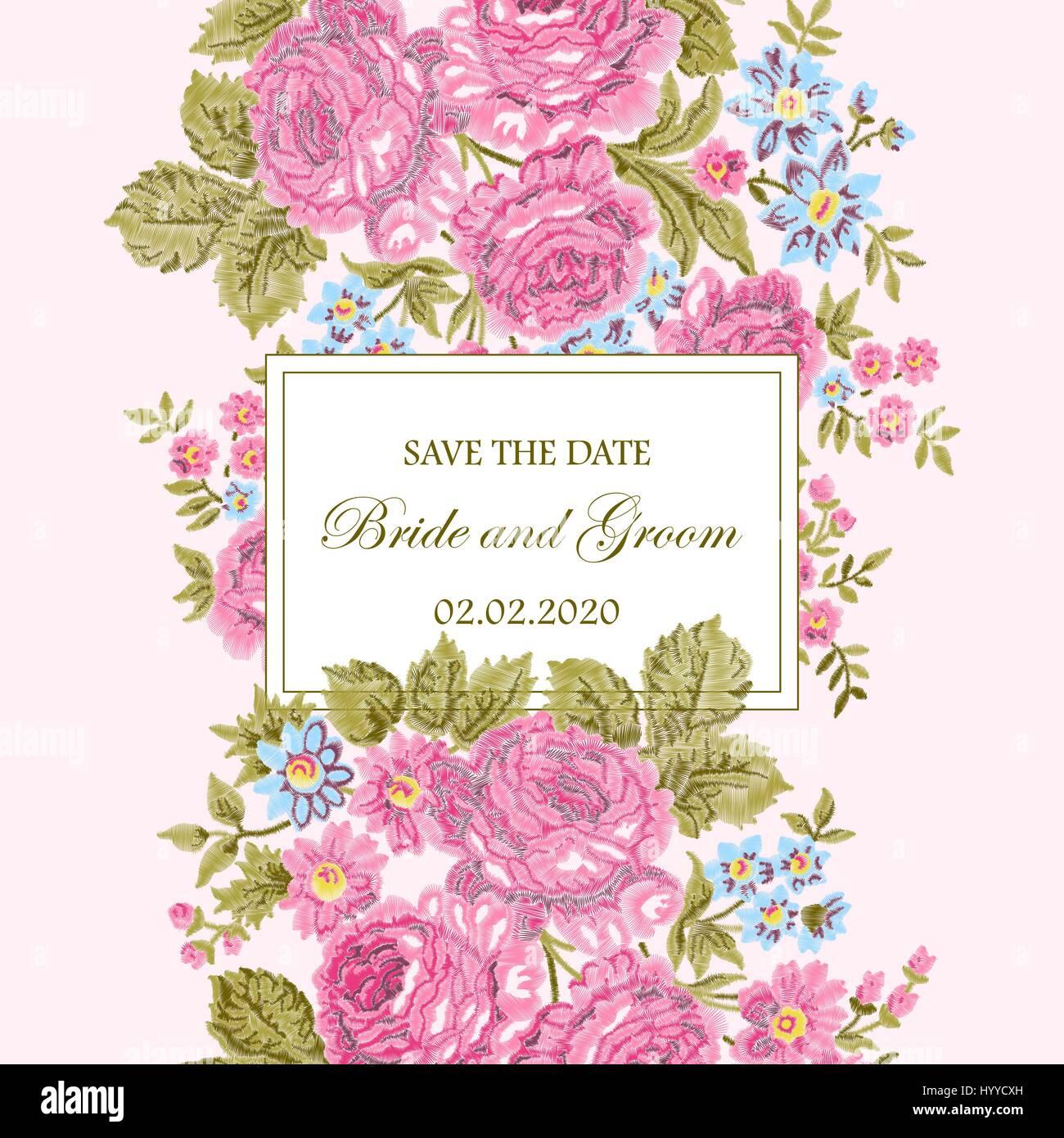 Bestickte Blumenrahmen mit Vintage Rosen und Platz für Text auf ... - Einladungskarten Hochzeit Rosen