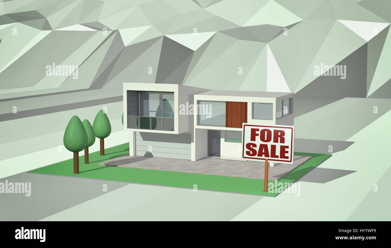 Wunderbar Modernes Haus Mit Einem Garten Und Einem Schild Mit Text: Konzept Der  Immobilien Markt Für Verkauf, Lowpoly Hintergrund (3d Render)