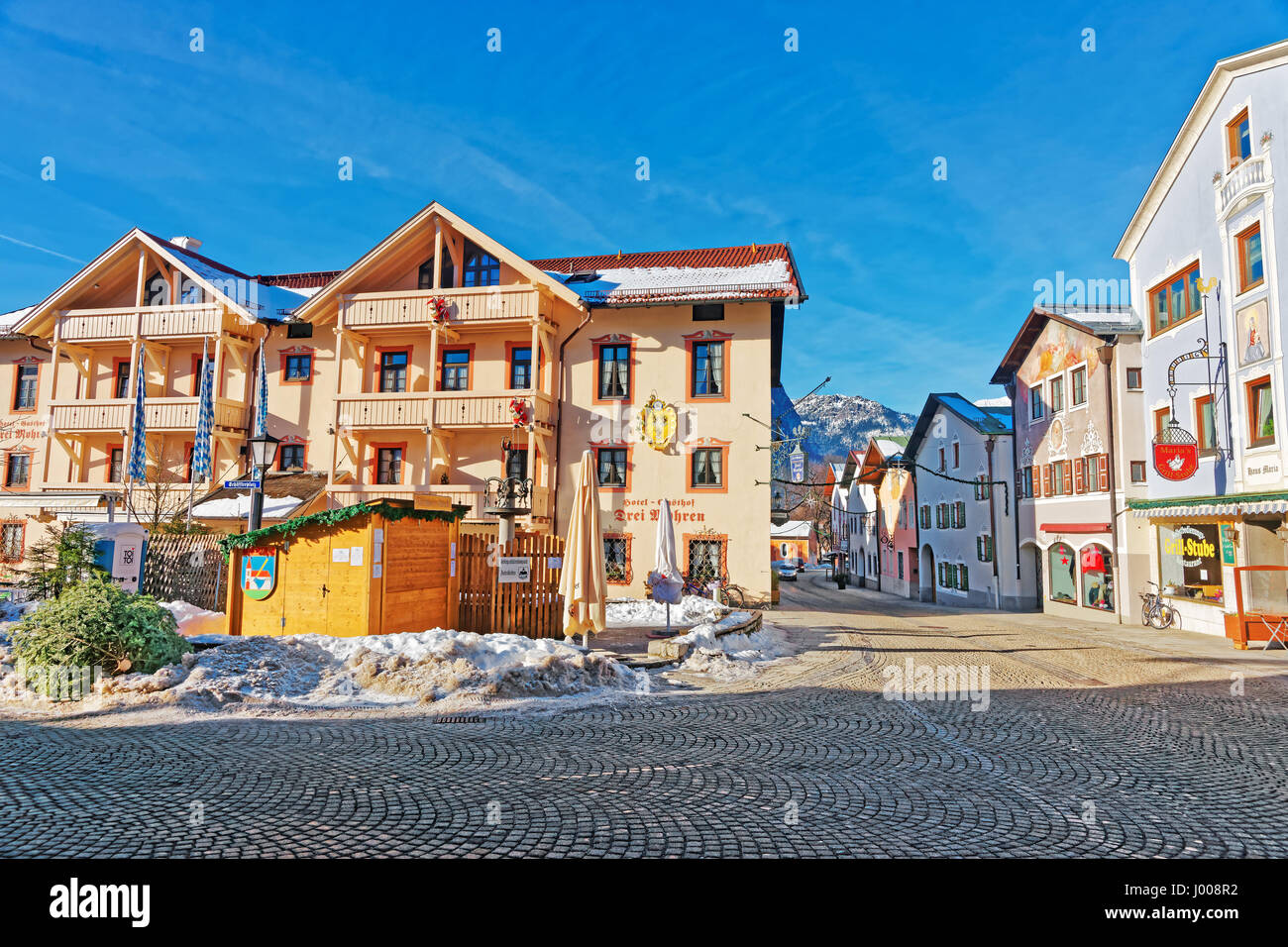 street view in garmisch partenkirchen germany stockfotos. Black Bedroom Furniture Sets. Home Design Ideas