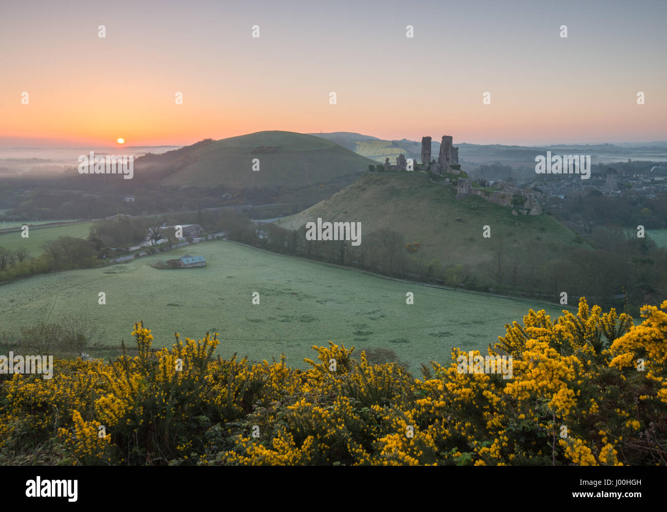 Corfe Castle, Dorset, UK. 8. April 2017. Glorreiche nebligen knackig Sonnenaufgang über die Isle of Purbeck Stockbild
