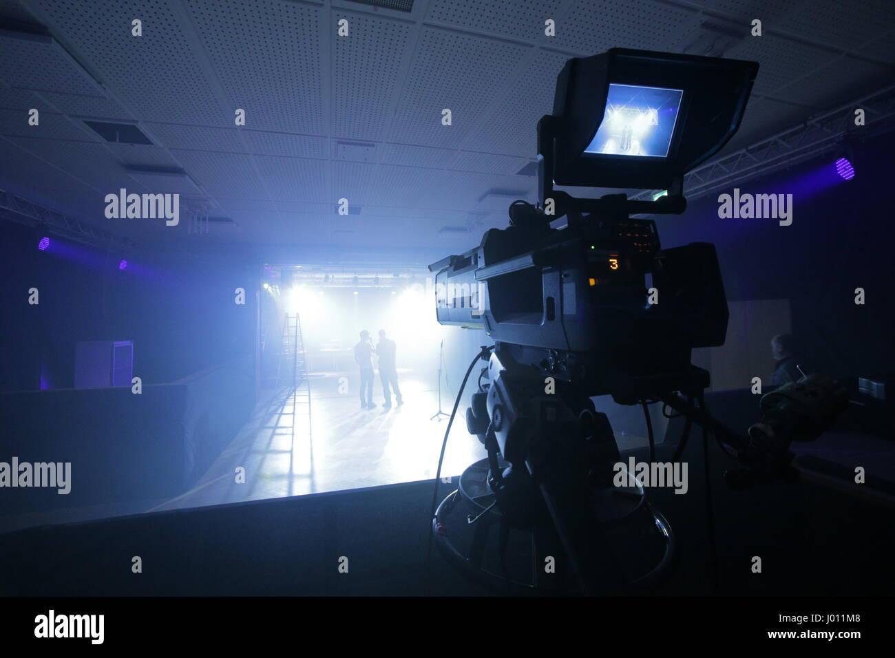 TV-Kamera bei einem live-event Stockbild