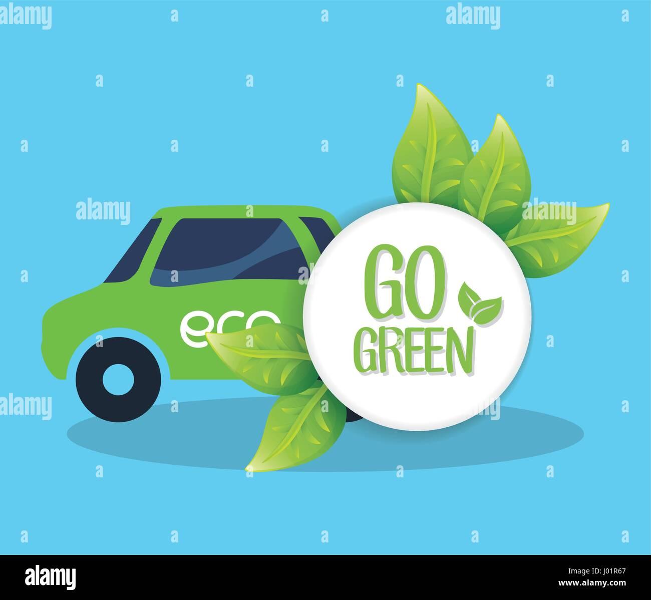 grünes Auto Transport Natur gehen Stockbild