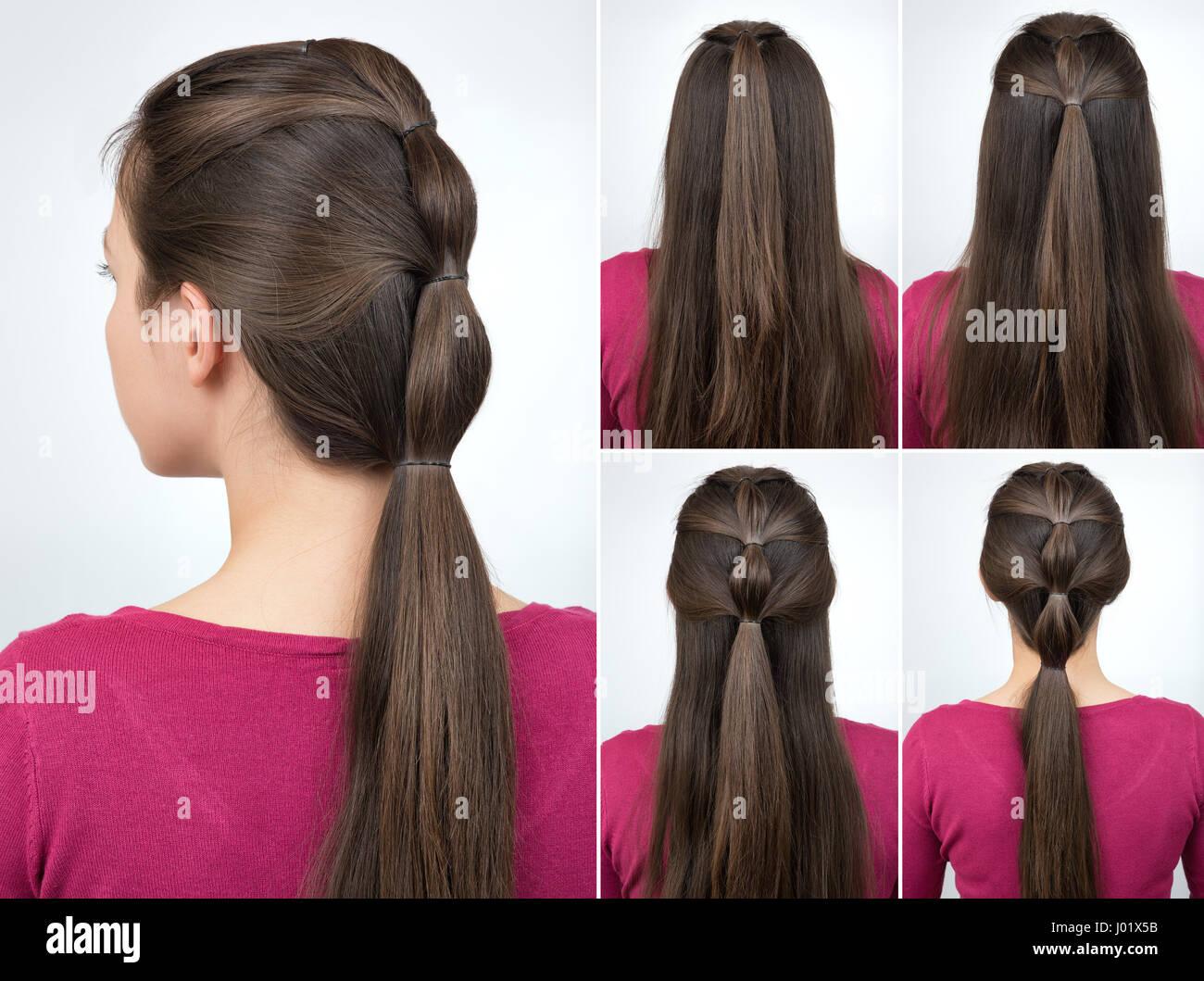 Einfache Frisur Pferdeschwanz Mit Haargummi Tutorial Haar Tutorial