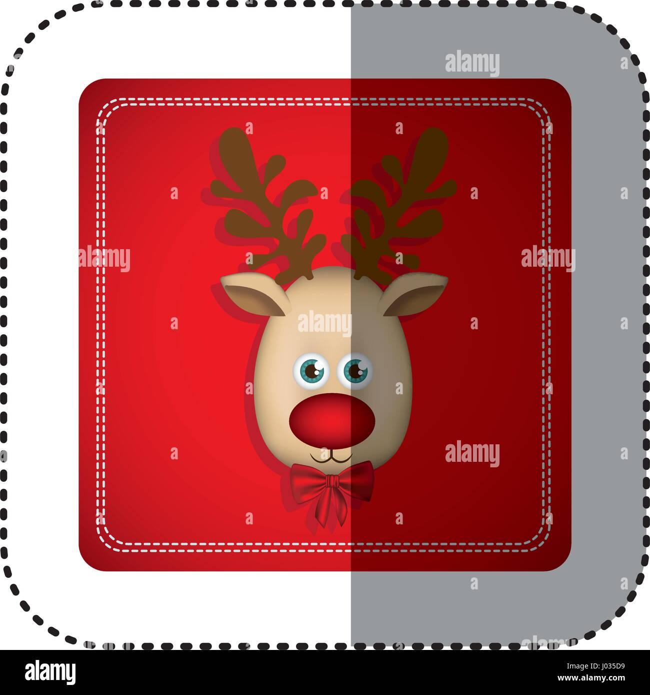 Sticker bunt quadratischen Rahmen mit Weihnachten Rentier Gesicht ...