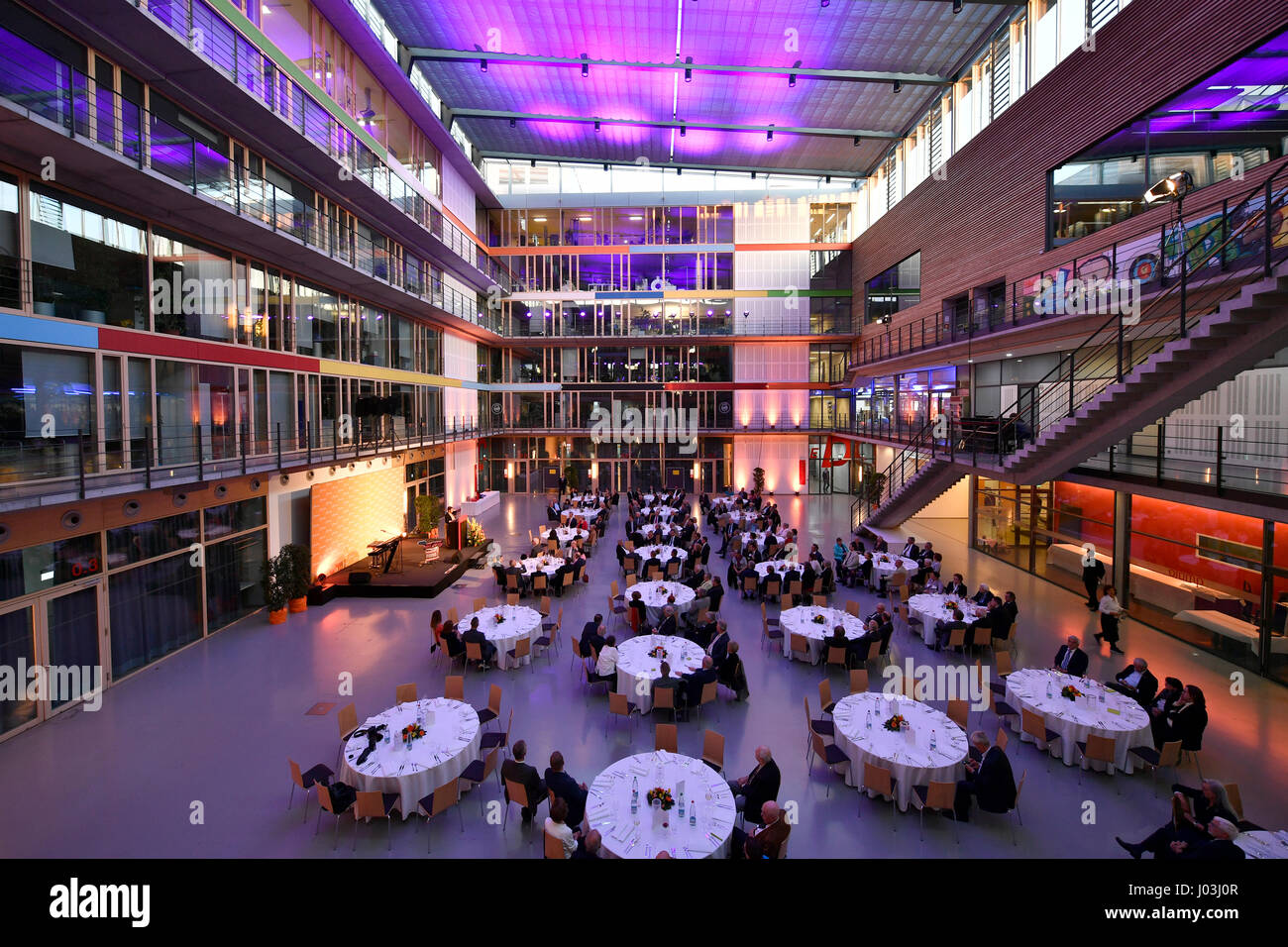Festliche Beleuchtung, SpOrt, Haus des Sports, Stuttgart, Baden-Württemberg, Deutschland Stockbild