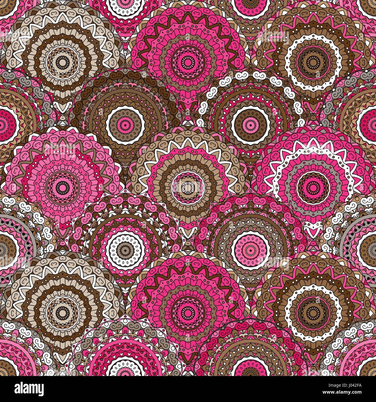 nahtlose runde muster fr das drucken auf stoff oder papier handgezeichnete hintergrund farbige indische ornament vektor illustration - Bastelpapier Muster