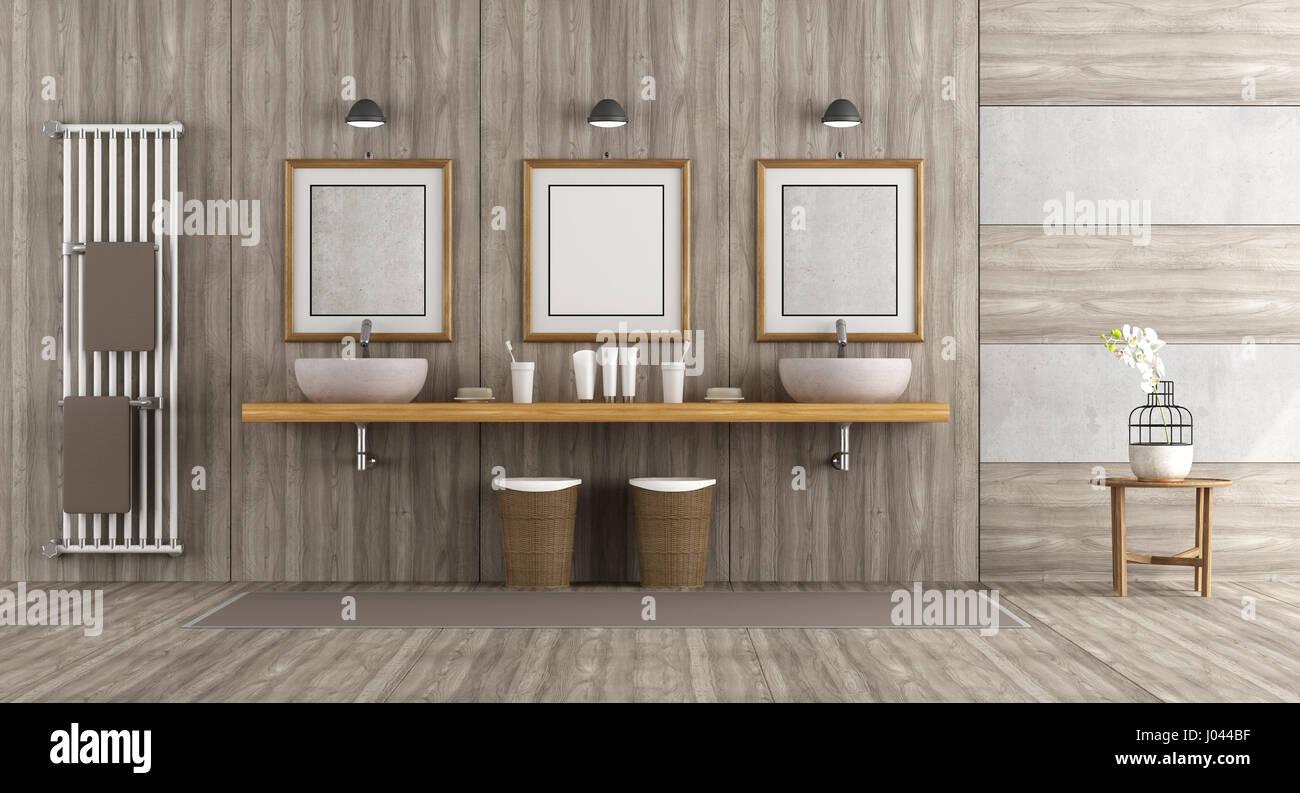 Aus Holz und Beton Badezimmer mit doppelten Waschbecken auf ...