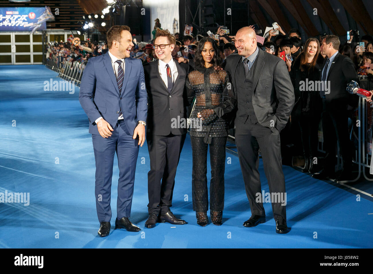 Tokio, Japan. 10. April 2017. (L, R) Schauspieler Chris Pratt, Regisseur James Gunn, Schauspielerin Zoe Saldana Stockbild