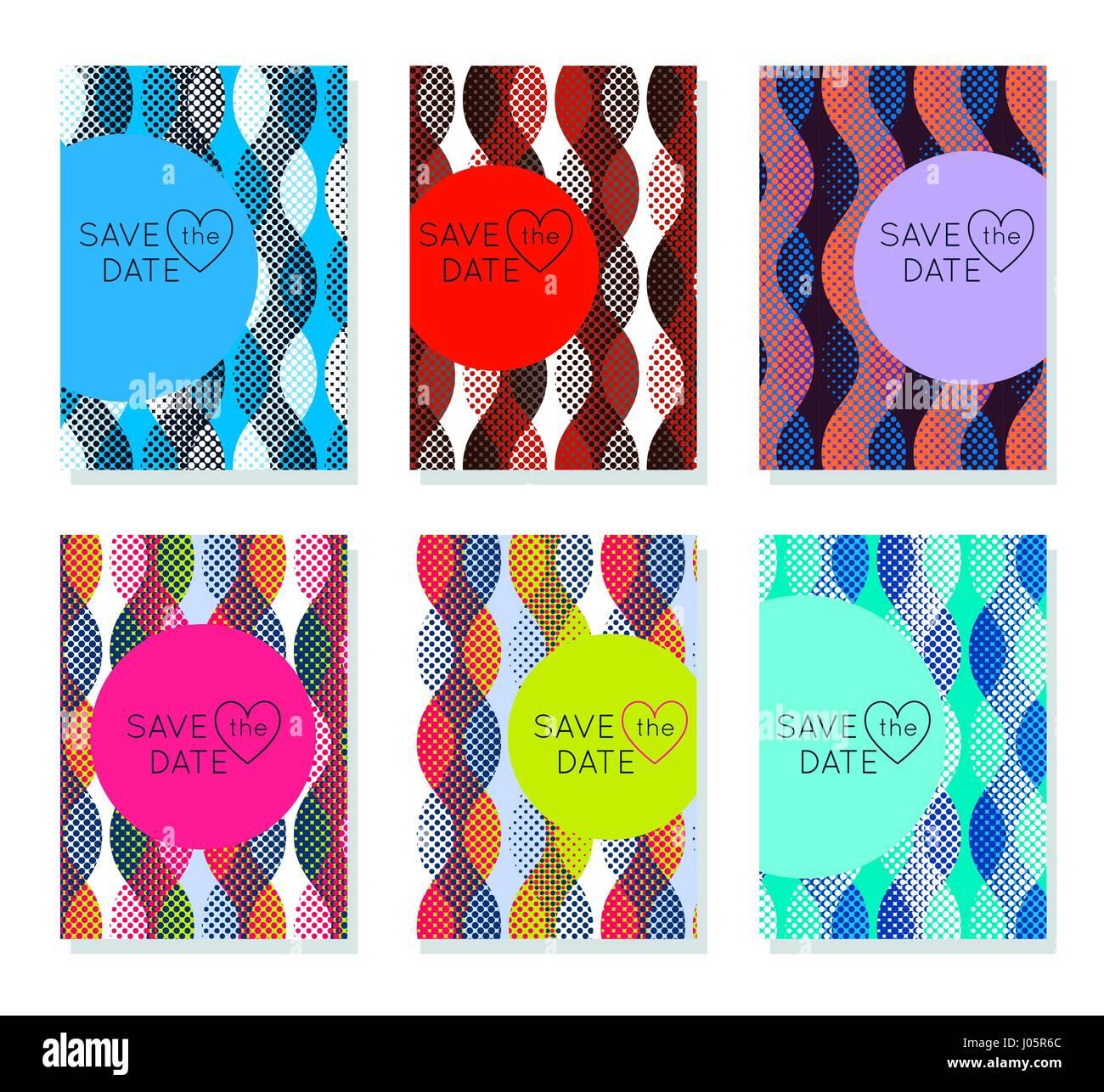 Einladung Karten Design Vorlage Set. Editierbare Layout Zum Geburtstag,  Einladung, Hochzeit, Babyparty, Valentinstag. Trendige Geometrische Memphis  St