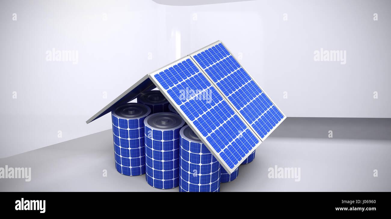 3D Bild Eines Hausmodell Aus Sonnenkollektoren Und Zellen Vor Abstrakten  Raum