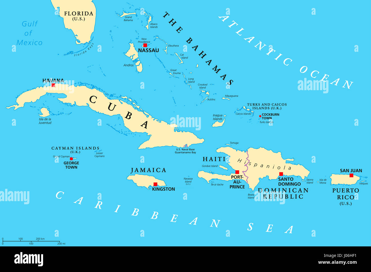 Politische Karte Der Großen Antillen Karibik Kuba Jamaika Haiti