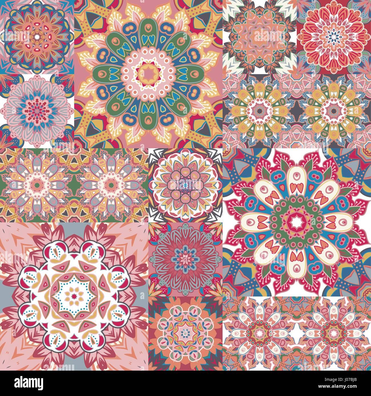 Pastell Vintage Nahtlose Muster Mit Floralen Und Mandala Elemente Handgezeichnete Hintergrund