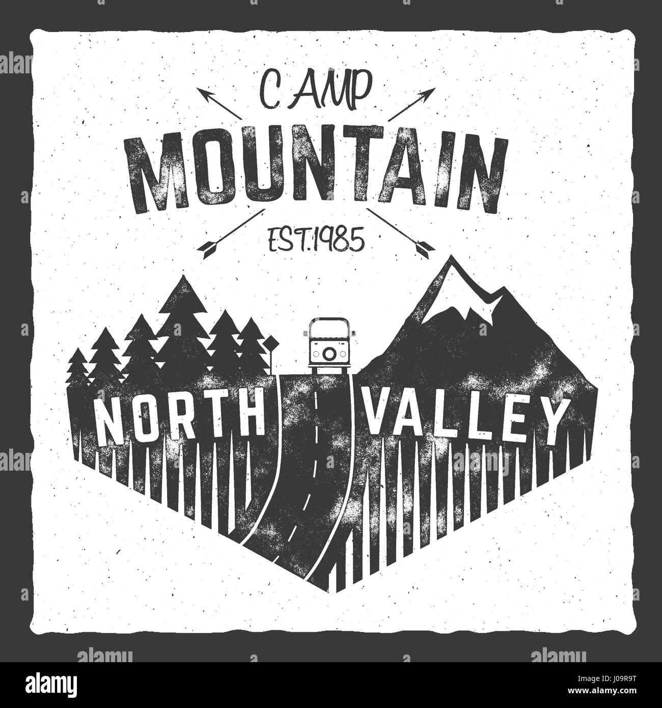 Mountainbike Camp Plakat Norden Tal Schild Mit Rv Anhanger