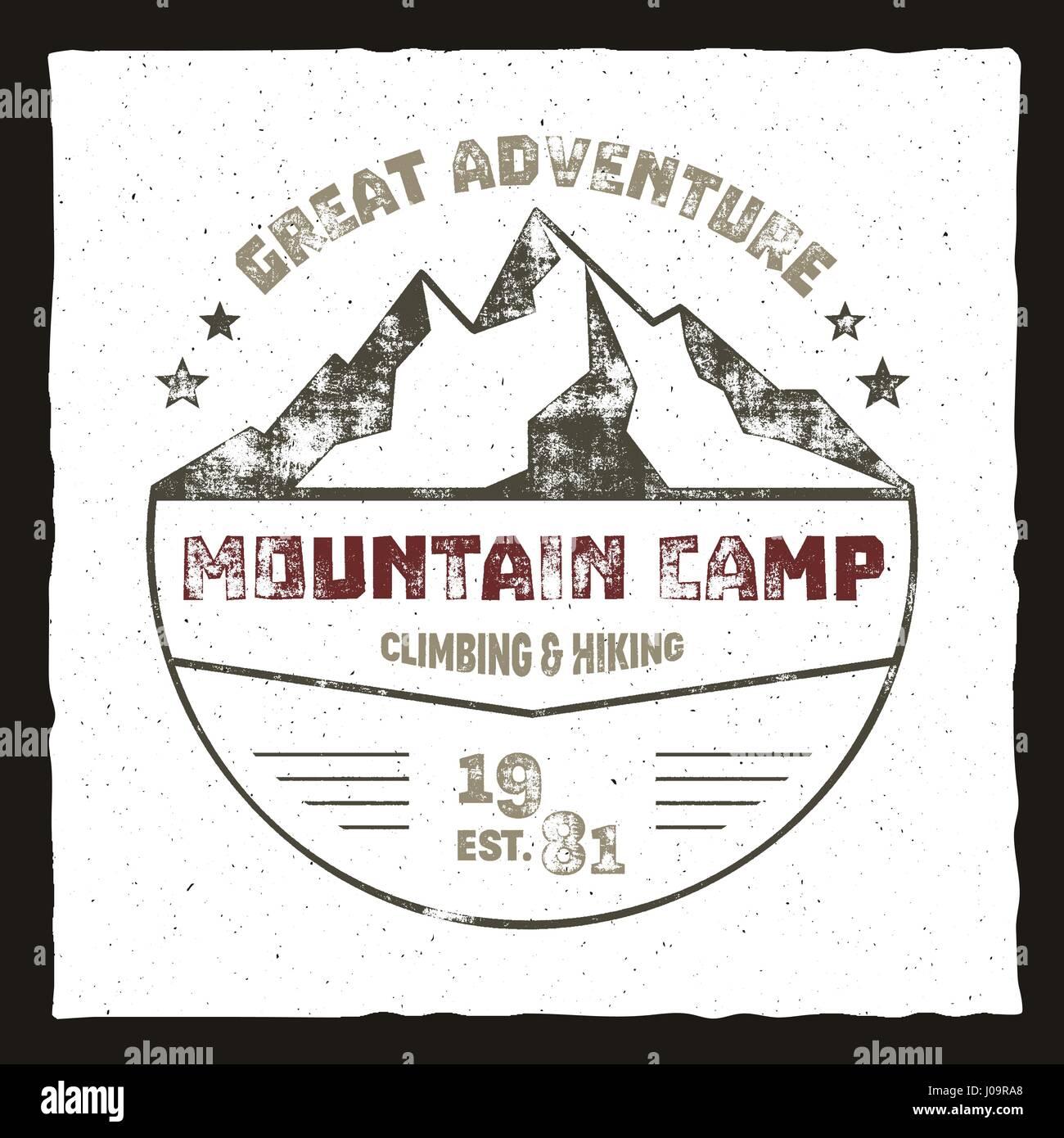 Mountainbike Camp Plakat Outdoor Abenteuer Logo Retro Farben